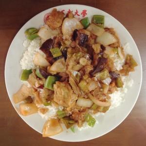 Berenjena, cebolla y ají verde con arroz.